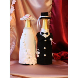Свадебный наряд для бутылок «Жених и невеста»
