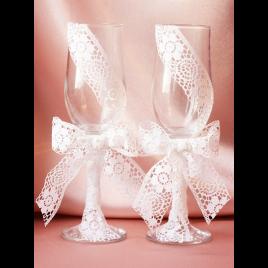 Свадебные бокалы «Кружевная пара»