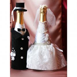 Свадебный наряд для бутылок «Современные молодожены»