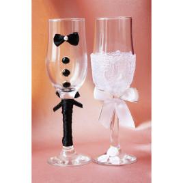 Свадебные бокалы «Кавалер с бабочкой»