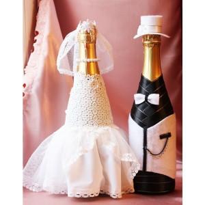 """Свадебный наряд для бутылок """"Белая шляпка"""""""