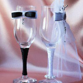 Свадебные бокалы «Жених и невеста модная пара»