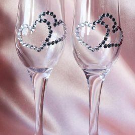 Свадебные бокалы «Сердца из страз»