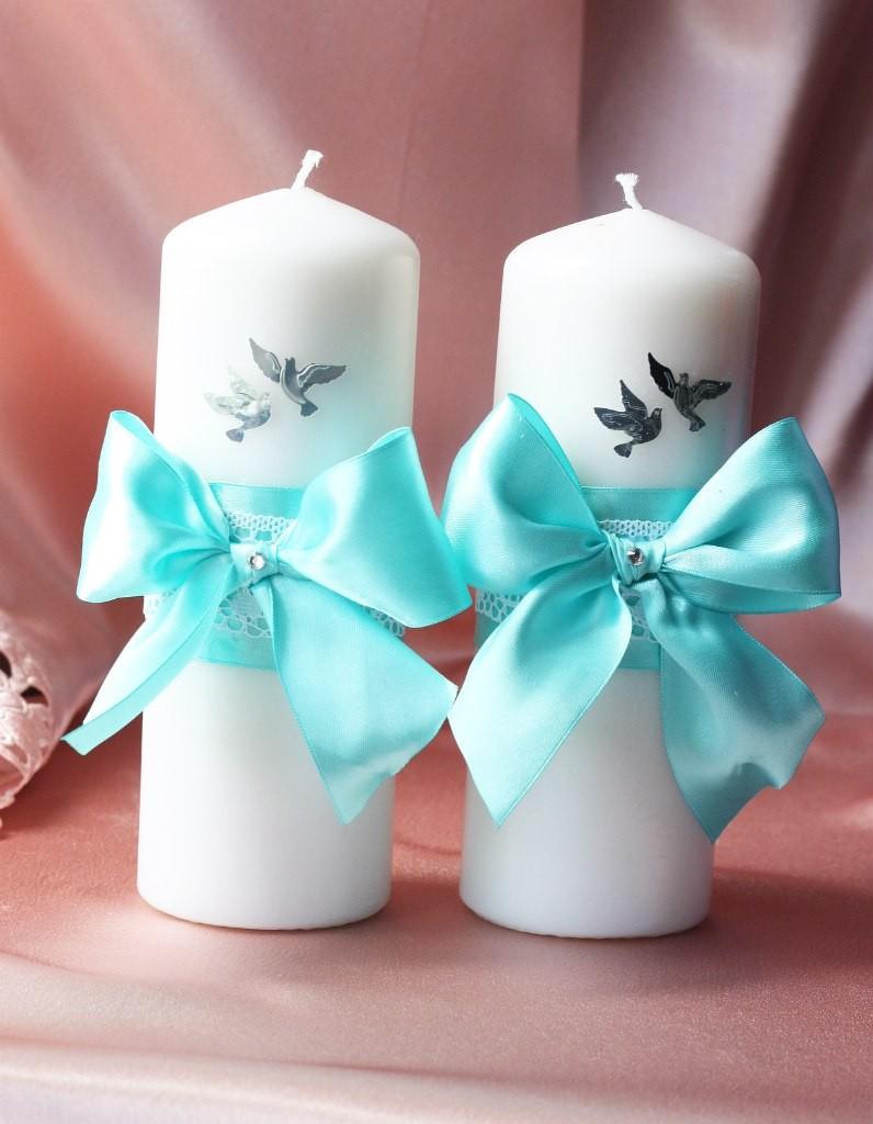 Свечи на свадьбу своими руками бирюзовые 94