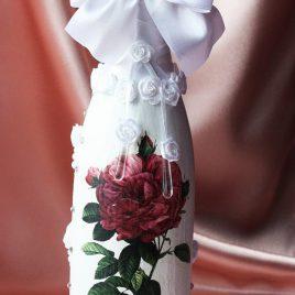 Свадебный наряд для бутылки «Роза»