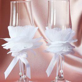 Свадебные бокалы «Лепестки розы»
