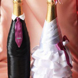 Свадебный наряд для бутылок «Моднявые»