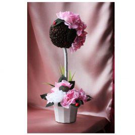 Топиарий Кофейное дерево с розовыми розами