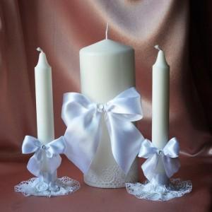 Свадебные свечи набор Белый