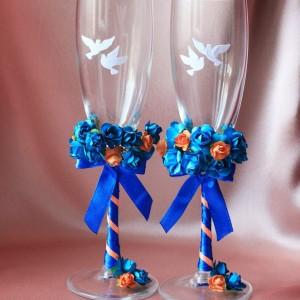 Свадебные бокалы Синево-оранж с голубями