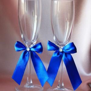 Свадебные бокалы Скромная пара синяя