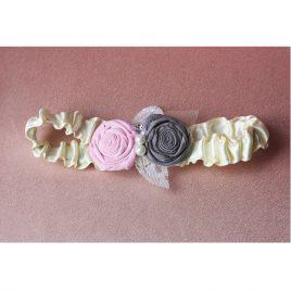Свадебная подвязка два цветка серо-розовый