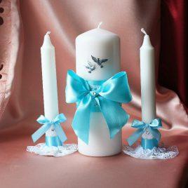 Свадебные свечи Бирюзовые