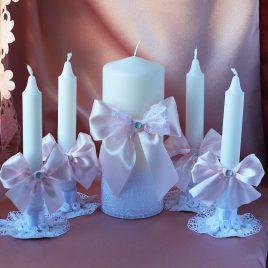 Свадебные свечи Большой набор Белоснежные в розовом цвете