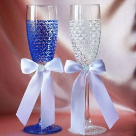 Свадебные бокалы Сине-белая Паутинка