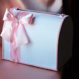 Сундук для денег Бант сбоку нежно розовый