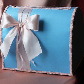 Сундук для денег серо-голубой Бант сбоку нежно розовый