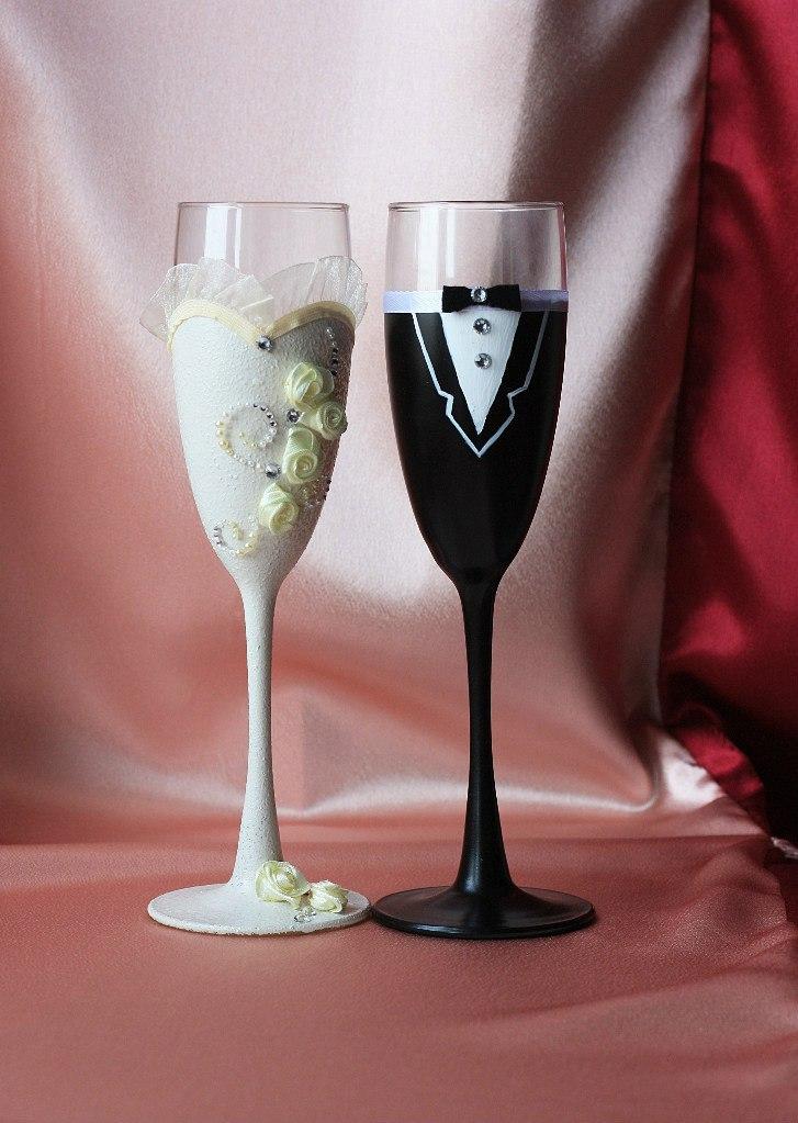Фужеры жених и невеста на свадьбу своими руками мастер класс фото 7
