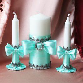 Свадебные свечи Мятные фиалки
