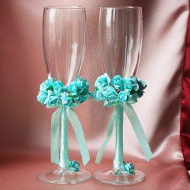 Свадебные бокалы «Бирюза»
