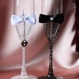 Свадебные бокалы Тайна черно-белая