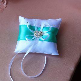 Подушка для колец Сердце с бирюзой