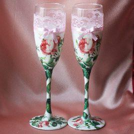 Свадебные бокалы Цветочные