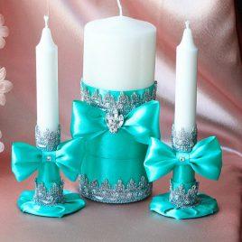 Свадебные свечи Набор Бирюзовые фиалки