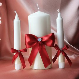 Свадебные свечи Бордо на айвори