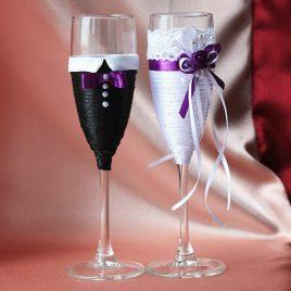 Свадебные бокалы Свадебный переполох фиолетовый