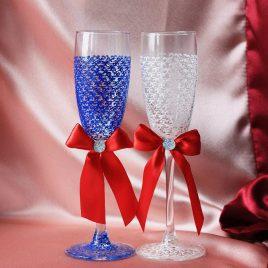 Свадебные бокалы Сине-белая Паутинка с красным