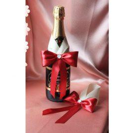 Украшения на бутылки Бордо на айвори