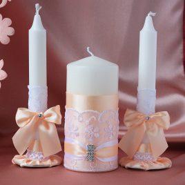 Свадебные свечи персиковая нежность