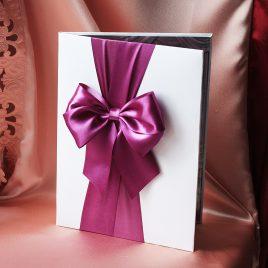 Папка для свидетельства о браке Бант фиолетовый