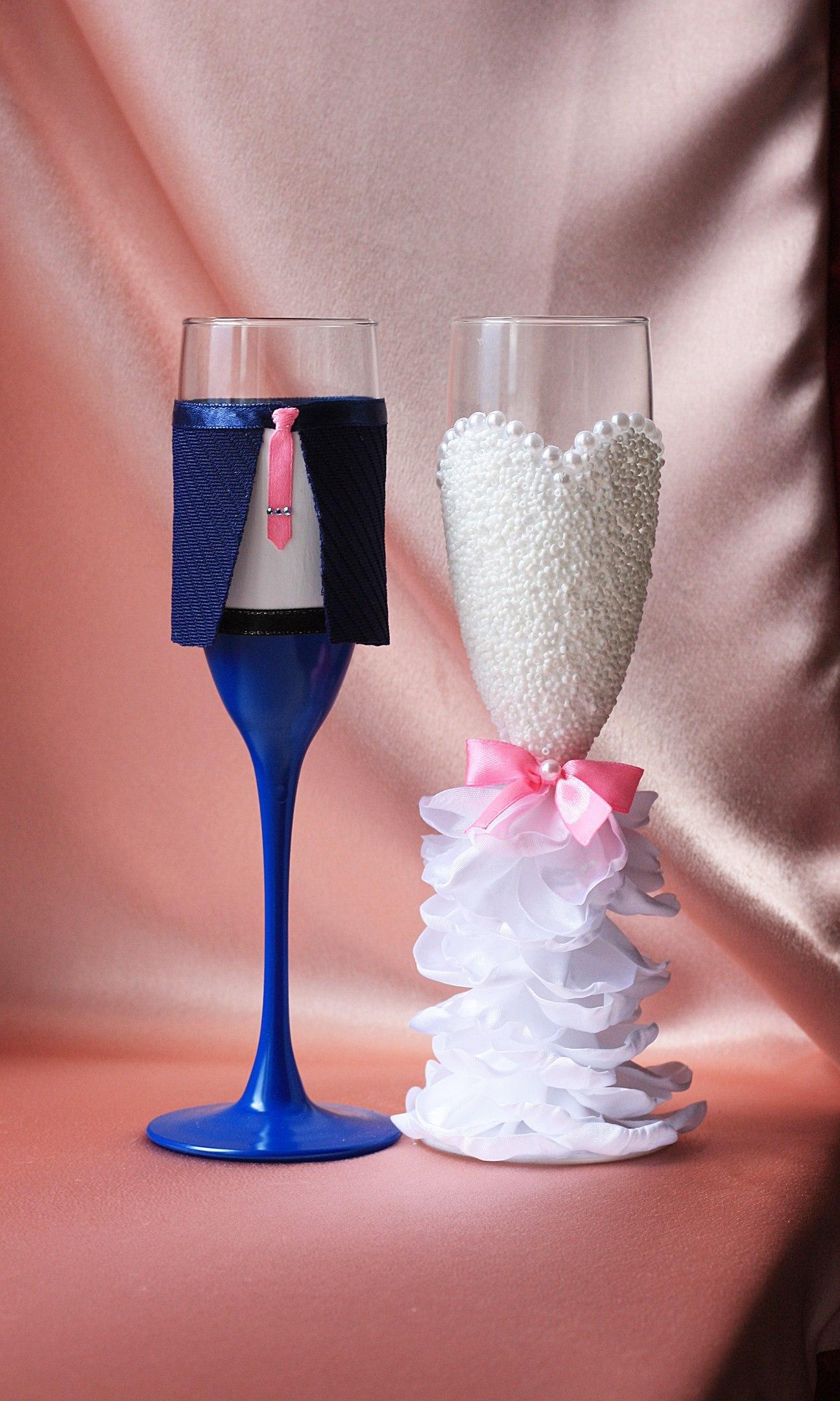 Бокалы жених и невеста пошаговое фото
