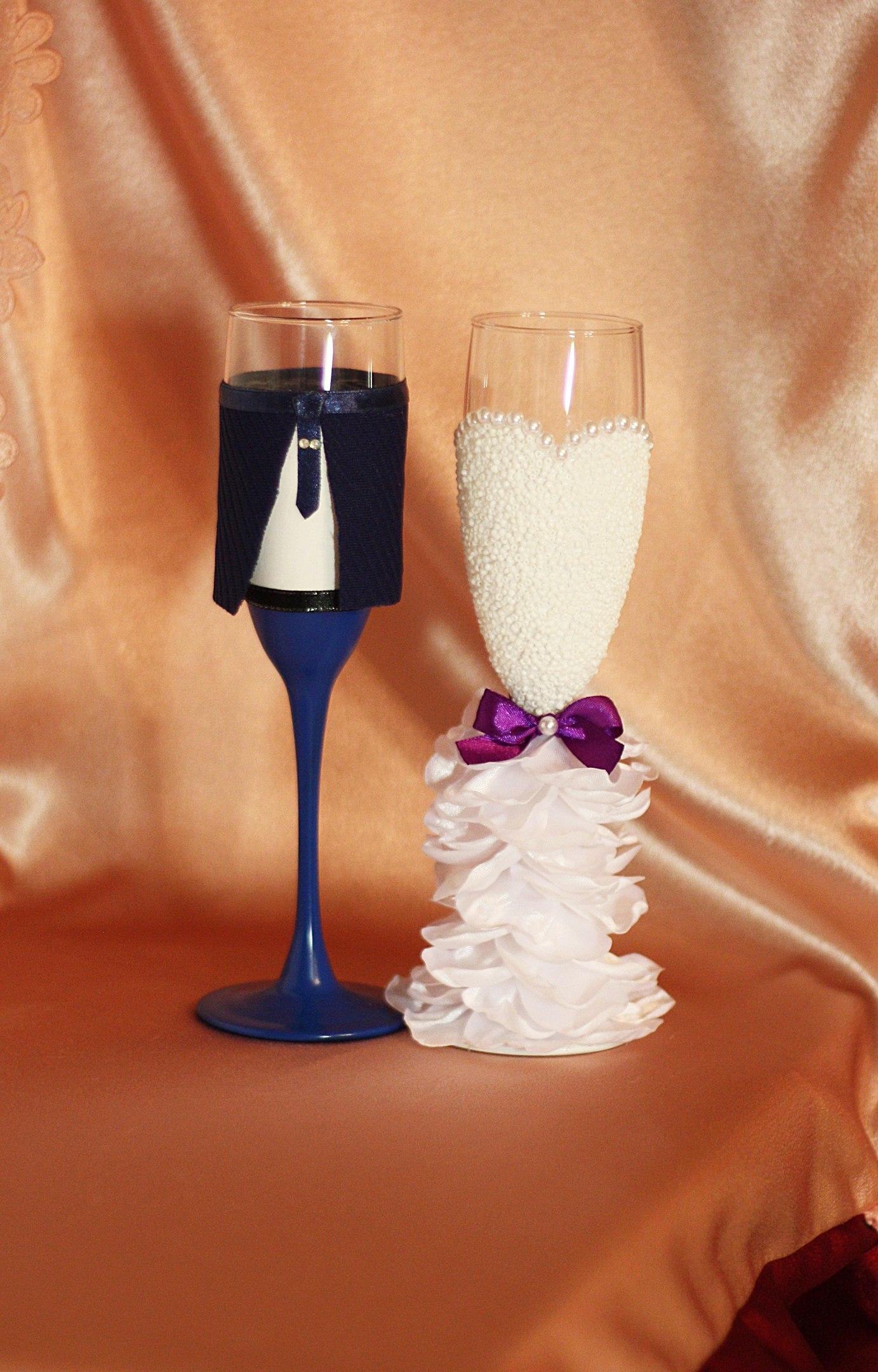 Свадебные бокалы жених невеста своими руками