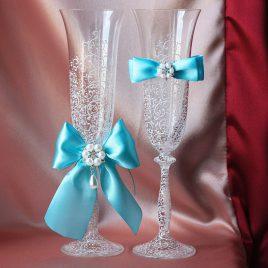 Свадебные бокалы Грация Люкс морская волна со съемными бантиками