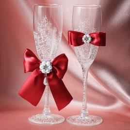 Свадебные бокалы Грация бордо