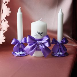 Свадебные свечи Сиреневые с голубями