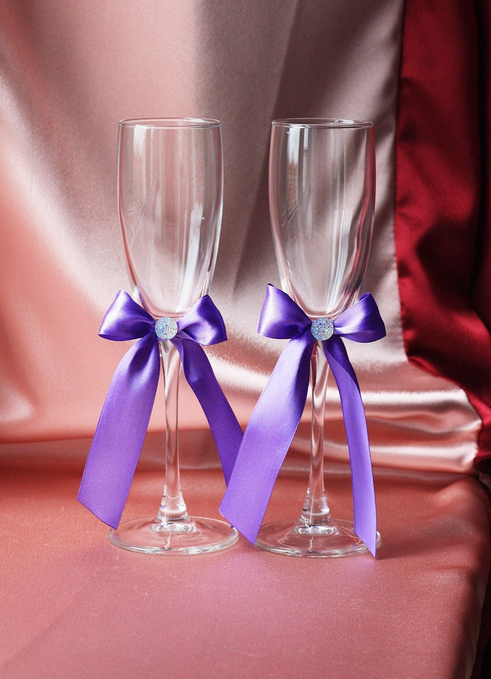 Лентами украшаем бокалы на свадьбу своими руками 188