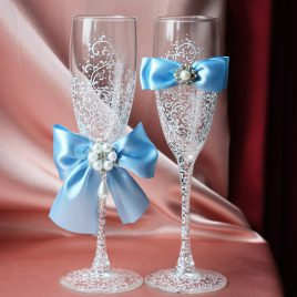 Свадебные бокалы Грация голубой