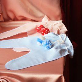 Ползунки для денег С помпонами розово-голубыми