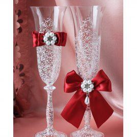 Свадебные бокалы Грация Люкс с красными съемными бантиками