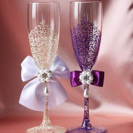 Свадебные бокалы Грация Шик айвори с фиолетовым