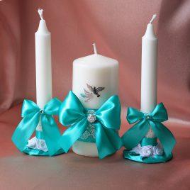 Свадебные свечи Бирюзовые с голубями малые