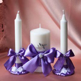 Свадебные свечи Сиреневые темные с голубями