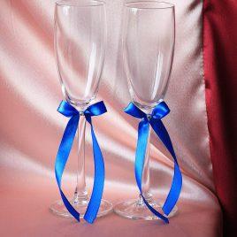 Свадебные бокалы Скромная пара синяя 1,2