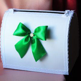Сундук для денег Зеленый бантик
