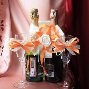 Украшение на бутылки шампанского айвори с оранжевым
