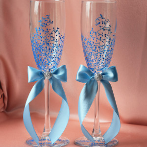 Свадебные бокалы красивая пара голубая с подписью